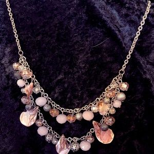 Pink on Silver Chain Necklace